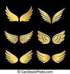 gouden, collection., vrijstaand, vector, zwarte achtergrond, engelen, vleugels