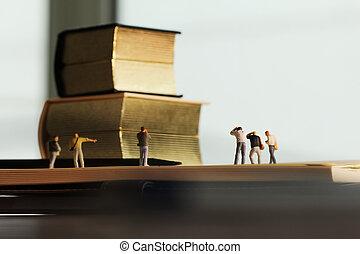 gouden, concept, fotograaf, -, idee, creatief, papier, miniatuur, aantekenboekje, ouderwetse , opengeslagen boek