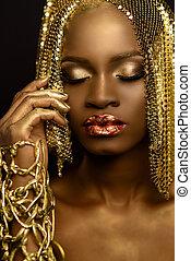 gouden, concept, paillettes, makeup, wig., amerikaan, mode, glanzend, vrouwelijke afrikaan, verticaal, sexy, model, sensueel, mode