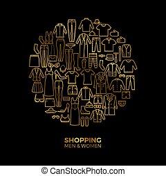 gouden, concept, shoppen , iconen, vector, dune lijn, mode, kleren