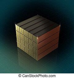 gouden, container, expeditie, render, kubiek, lading, 40, voetjes, hoog, stapel, illustratie, achtergrond, kwaliteit, 3d