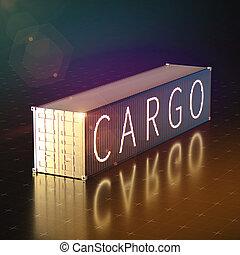 gouden, container, render, lading, expeditie, voetjes, hoog, illustratie, achtergrond, 40, kwaliteit, 3d