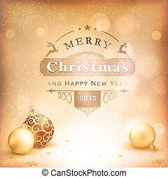 gouden, desaturatet, baubles, achtergrond, kerstmis