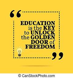gouden, deur, inspirational, freedom., motivational, quote., ontsluiten, klee, opleiding