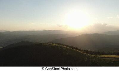 gouden, dicht, pieken, kleurrijke, berg, bosje, base,...