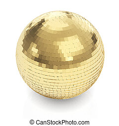 gouden, disco bal, op wit