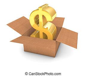 gouden, dollar, in doos
