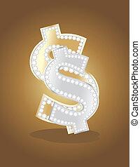 gouden, dollar, zilver, meldingsbord
