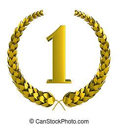 gouden, eerst, laurier, prijs, 3d