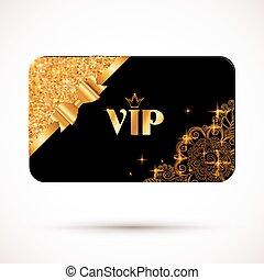 gouden, effect, boog, vip, black , mal, schitteren, kaart