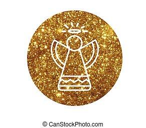gouden, engel, plat, vector, cirkel, schitteren, kerstmis, pictogram