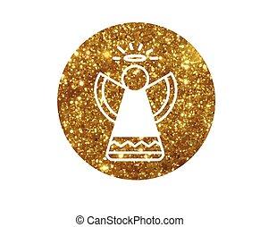gouden, engel, plat, vector, schitteren, kerstmis, pictogram
