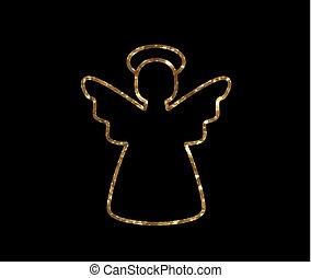 gouden, engel, vector, lijn, schitteren, kerstmis, pictogram