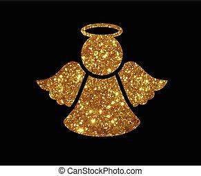 gouden, engel, Vector, lijn, schitteren, Kerstmis, pictogram...