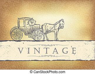 gouden, eps10, illustratie, ouderwetse , invitation., vector, trouwfeest
