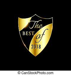 gouden, etiket, vector, ontwerp, jaar, badge, of, best