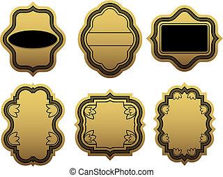 gouden, etiketten, set