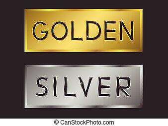 gouden, etiketten, zilver