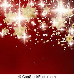 gouden, feestelijk, stars., achtergrond, kerstmis, rood