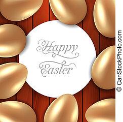 gouden, felicitatie, houten, eitjes, glanzend, achtergrond, pasen, kaart
