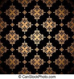 gouden, floral, achtergrond