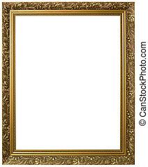 gouden, fotolijst, cutout