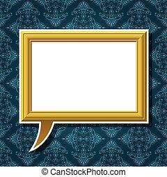 gouden, fotolijst, toespraak, achtergrond, bel