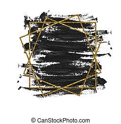 gouden, frame, black , schitteren, brushstroke