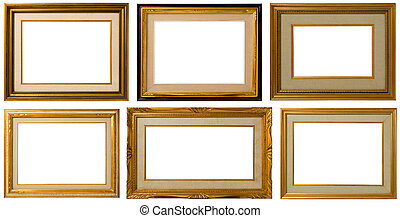gouden, frame, collection.