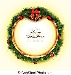 gouden, frame, kerstmis
