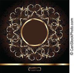 gouden, frame, koninklijk, achtergrond, sierlijk