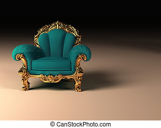 gouden, frame, moderne, koninklijk, leunstoel