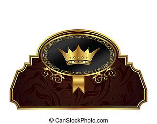 gouden, frame, ontwerp, pakking, etiket
