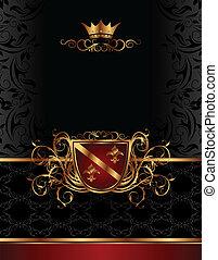 gouden, frame, ontwerp, pakking, ouderwetse