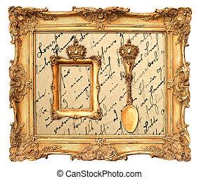 gouden, frame, oud, achtergrond, ouderwetse