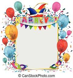 gouden, frame, papier, ballons, karneval