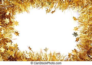 gouden, frame, schitteren
