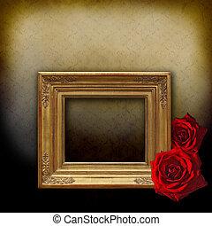 gouden, frame, twee, rode rozen
