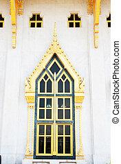 gouden, frame, venster, sotorn, witte , wat, tempel