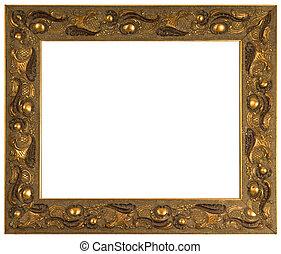 gouden, frame, vrijstaand, afbeelding