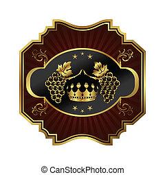 gouden, frame, wijntje, pakking, etiket