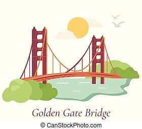 gouden, francisco, san, brug, poster, poort