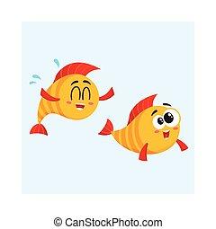 gouden, gek, gekke , visje, twee, samen, het glimlachen, karakters, zwemmen