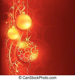 gouden, gelul, achtergrond, hangend, kerstmis, rood