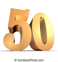 gouden, getal, -, 50