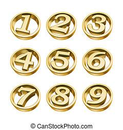 gouden, getallen, telefoon