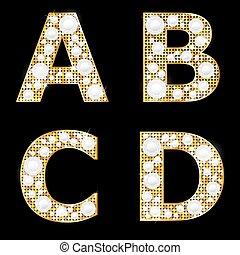 gouden, glanzend, brieven, metalen