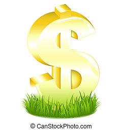 gouden, gras, het teken van de dollar