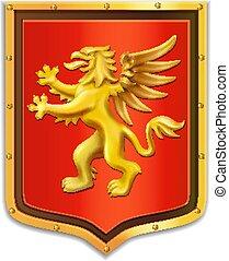 gouden, griffin, schild, jas, arms., heraldry.