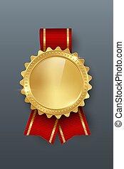 gouden, grijs, kleur, toewijzen, realistisch, vector, illustratie, achtergrond, medaille, lint, 3d